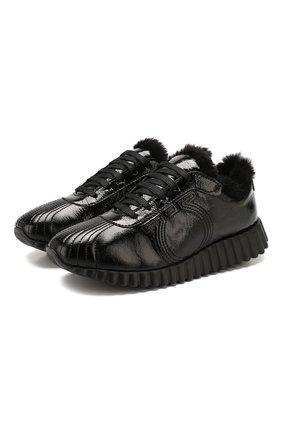 Женские кожаные кроссовки SALVATORE FERRAGAMO черного цвета, арт. Z-07167211C | Фото 1