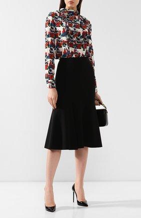 Женская шерстяная юбка GIORGIO ARMANI черного цвета, арт. 9WHNN02C/T001J | Фото 2 (Длина Ж (юбки, платья, шорты): Миди; Материал внешний: Шерсть; Статус проверки: Проверена категория)