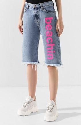 Женские джинсовые шорты NATASHA ZINKO голубого цвета, арт. PF19308-86 | Фото 3