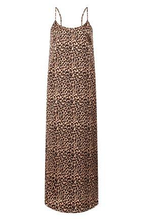 Женская шелковая сорочка YOLKE коричневого цвета, арт. AW19-18S-LE-CA   Фото 1