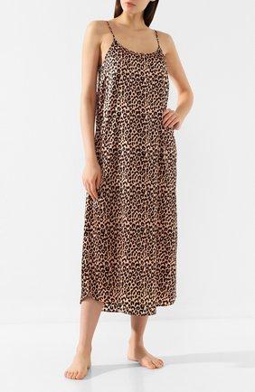 Женская шелковая сорочка YOLKE коричневого цвета, арт. AW19-18S-LE-CA   Фото 2