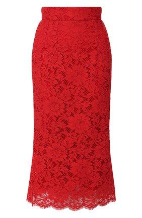 Женская кружевная юбка DOLCE & GABBANA красного цвета, арт. F4ATMT/FLM9V | Фото 1