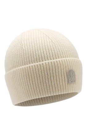 Мужская шерстяная шапка PARAJUMPERS белого цвета, арт. HA12/PLAIN BEANIE | Фото 1