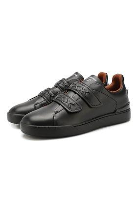 Мужские кожаные кеды ZEGNA COUTURE черного цвета, арт. A4294X-LHSWI | Фото 1