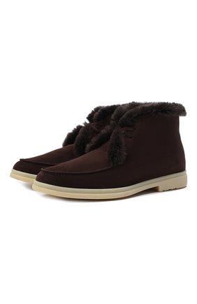 Мужские замшевые ботинки walk and walk LORO PIANA коричневого цвета, арт. FAE5014 | Фото 1
