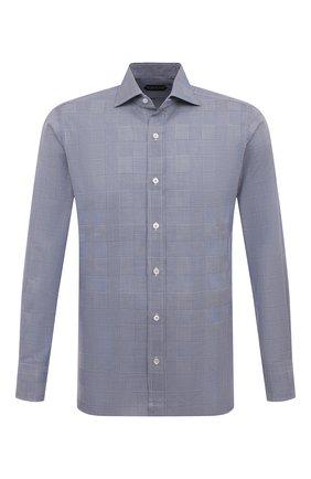Мужская хлопковая сорочка TOM FORD синего цвета, арт. 6FT124/94S1AX | Фото 1