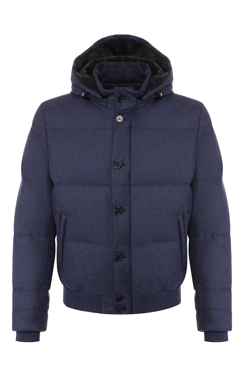Мужской пуховый бомбер ANDREA CAMPAGNA синего цвета, арт. A8T711/3813 | Фото 1 (Кросс-КТ: Куртка; Мужское Кросс-КТ: пуховик-короткий, Пуховик-верхняя одежда, Верхняя одежда; Материал внешний: Шерсть; Рукава: Длинные; Принт: Без принта; Материал подклада: Синтетический материал; Длина (верхняя одежда): Короткие; Материал утеплителя: Пух и перо; Стили: Кэжуэл)