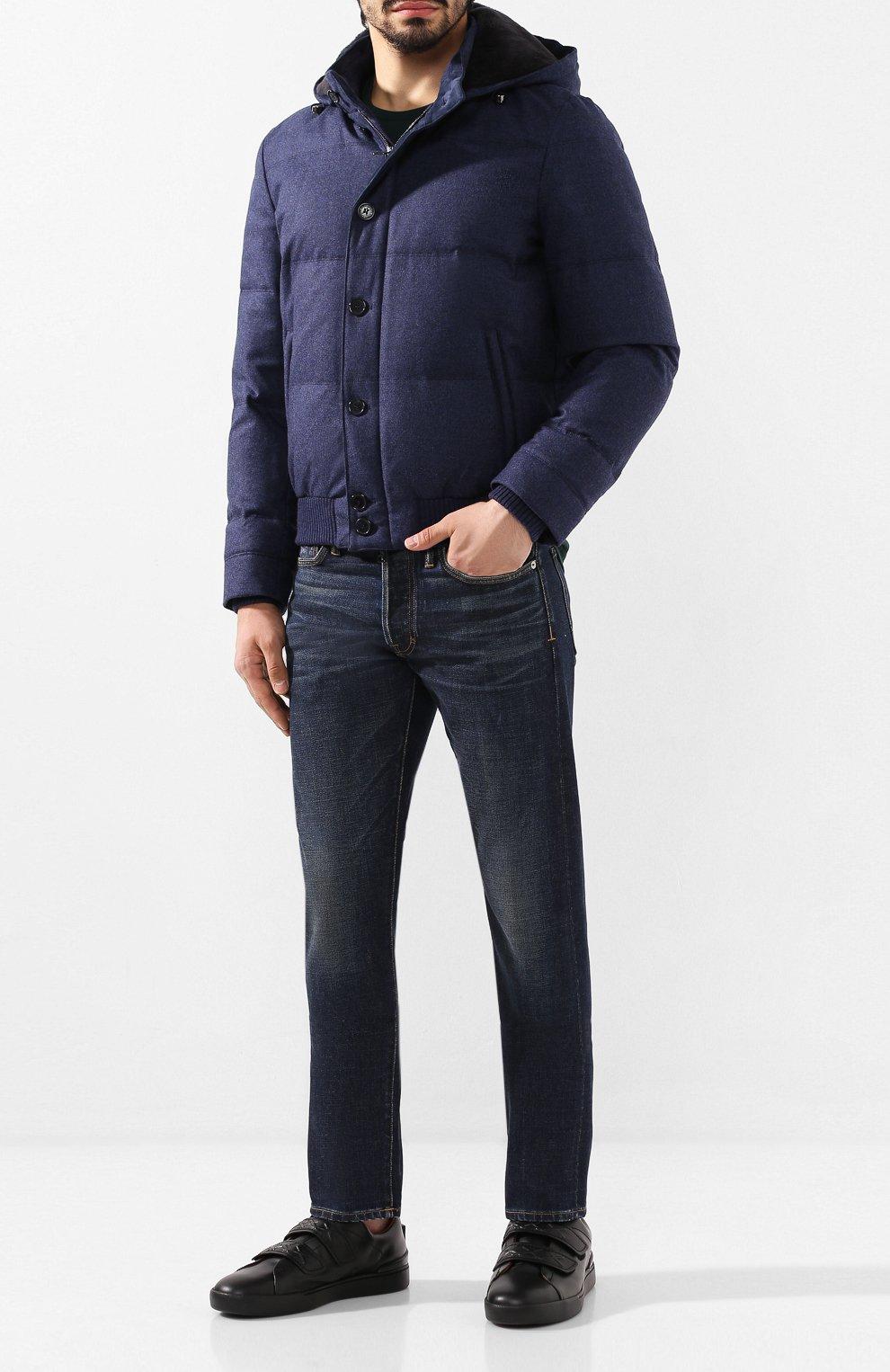 Мужской пуховый бомбер ANDREA CAMPAGNA синего цвета, арт. A8T711/3813 | Фото 2 (Кросс-КТ: Куртка; Мужское Кросс-КТ: пуховик-короткий, Пуховик-верхняя одежда, Верхняя одежда; Материал внешний: Шерсть; Рукава: Длинные; Принт: Без принта; Материал подклада: Синтетический материал; Длина (верхняя одежда): Короткие; Материал утеплителя: Пух и перо; Стили: Кэжуэл)