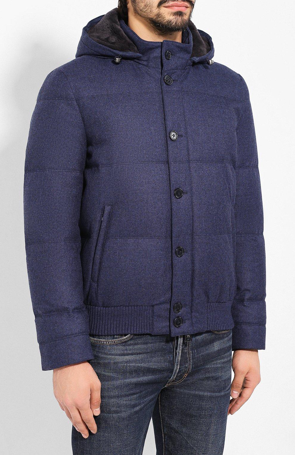 Мужской пуховый бомбер ANDREA CAMPAGNA синего цвета, арт. A8T711/3813 | Фото 3 (Кросс-КТ: Куртка; Мужское Кросс-КТ: пуховик-короткий, Пуховик-верхняя одежда, Верхняя одежда; Материал внешний: Шерсть; Рукава: Длинные; Принт: Без принта; Материал подклада: Синтетический материал; Длина (верхняя одежда): Короткие; Материал утеплителя: Пух и перо; Стили: Кэжуэл)