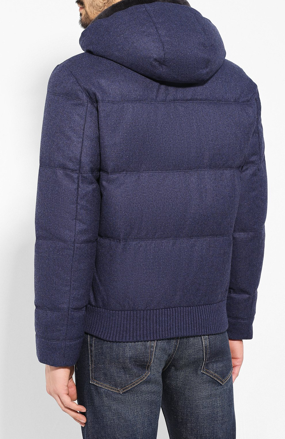 Мужской пуховый бомбер ANDREA CAMPAGNA синего цвета, арт. A8T711/3813 | Фото 4 (Кросс-КТ: Куртка; Мужское Кросс-КТ: пуховик-короткий, Пуховик-верхняя одежда, Верхняя одежда; Материал внешний: Шерсть; Рукава: Длинные; Принт: Без принта; Материал подклада: Синтетический материал; Длина (верхняя одежда): Короткие; Материал утеплителя: Пух и перо; Стили: Кэжуэл)