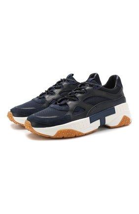 Мужские комбинированные кроссовки TOD'S темно-синего цвета, арт. XXM57B0BL40M7A | Фото 1