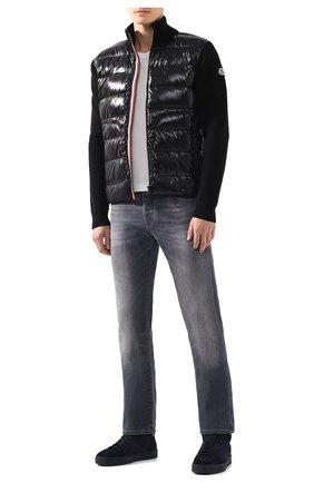 Мужская комбинированный кардиган MONCLER черного цвета, арт. E2-091-94166-00-9699Z | Фото 2