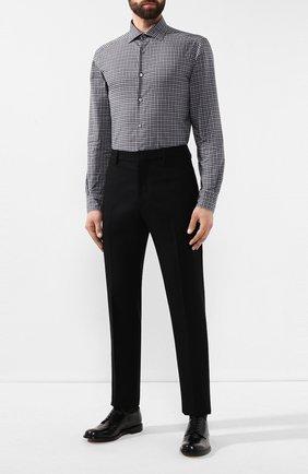 Мужская хлопковая рубашка ERMENEGILDO ZEGNA темно-серого цвета, арт. UTX33/SRF5 | Фото 2