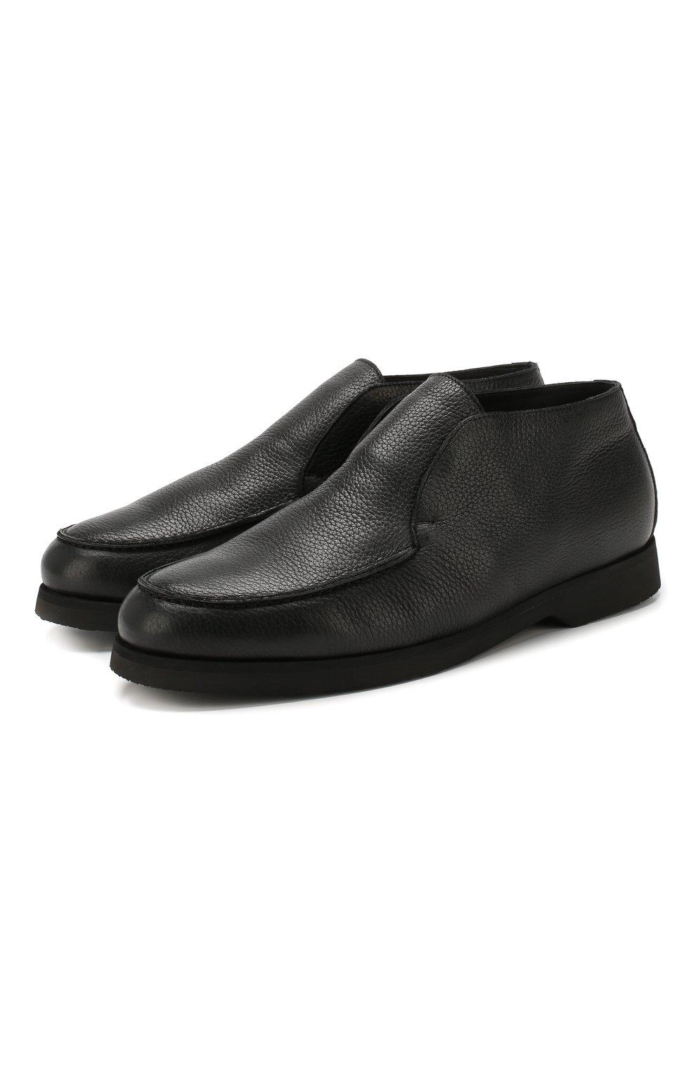 Мужские кожаные ботинки ANDREA CAMPAGNA черного цвета, арт. 390001.91.140 | Фото 1 (Материал утеплителя: Натуральный мех, Овчина; Мужское Кросс-КТ: Ботинки-обувь, зимние ботинки; Статус проверки: Проверено, Проверена категория; Подошва: Плоская)