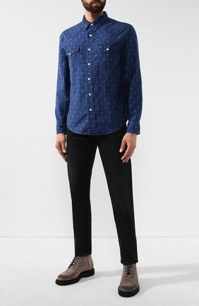 Мужская джинсовая рубашка RRL синего цвета, арт. 782751103 | Фото 2