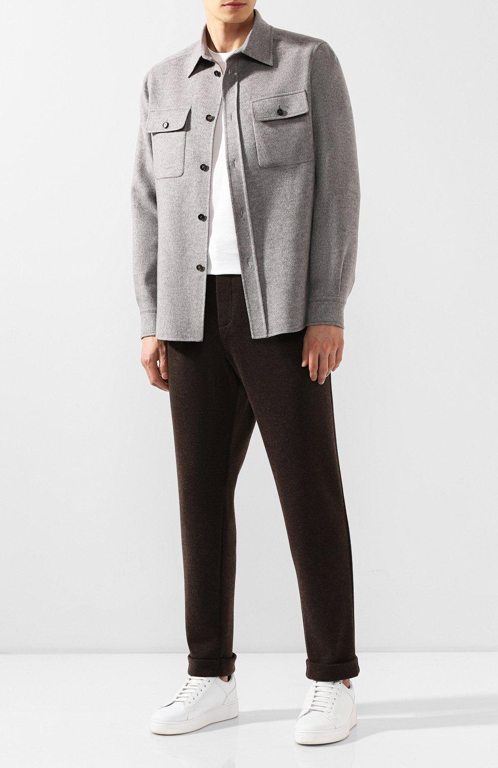 Мужские кашемировые брюки KITON коричневого цвета, арт. UFP1LACK01S60 | Фото 2