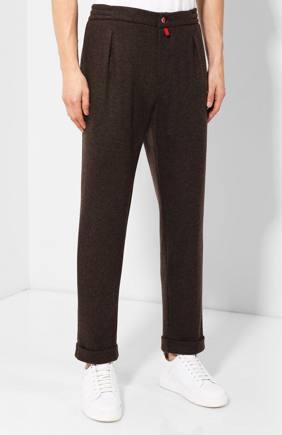 Мужские кашемировые брюки KITON коричневого цвета, арт. UFP1LACK01S60 | Фото 3