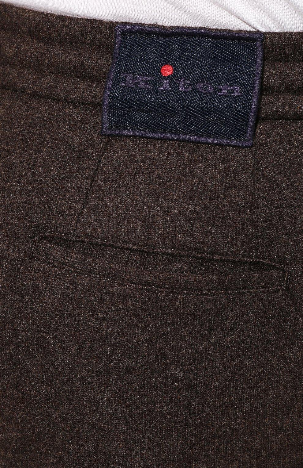 Мужские кашемировые брюки KITON коричневого цвета, арт. UFP1LACK01S60 | Фото 5