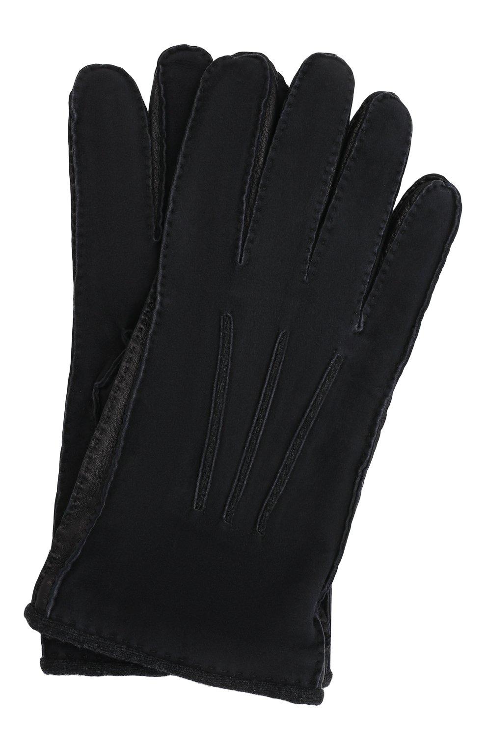 Мужские замшевые перчатки LORO PIANA темно-синего цвета, арт. FAF8675 | Фото 1