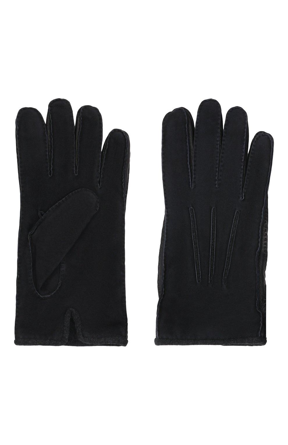 Мужские замшевые перчатки LORO PIANA темно-синего цвета, арт. FAF8675 | Фото 2