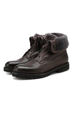 Мужские кожаные ботинки DOUCAL'S коричневого цвета, арт. DU2538PHILUM096NN25 | Фото 1