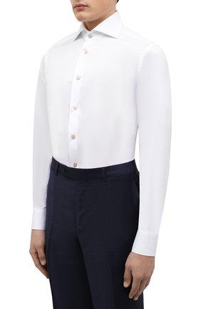 Мужская хлопковая сорочка KITON белого цвета, арт. UCCH0701301 | Фото 3