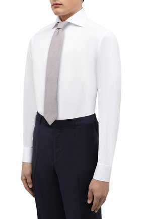 Мужская хлопковая сорочка KITON белого цвета, арт. UCCH0701301 | Фото 4