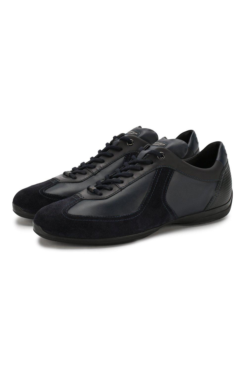 Мужские кожаные кроссовки SANTONI темно-синего цвета, арт. MSAM21196NARRMMYU60 | Фото 1