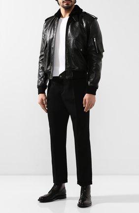Мужские кожаные ботинки army SAINT LAURENT черного цвета, арт. 587462/1G700 | Фото 2