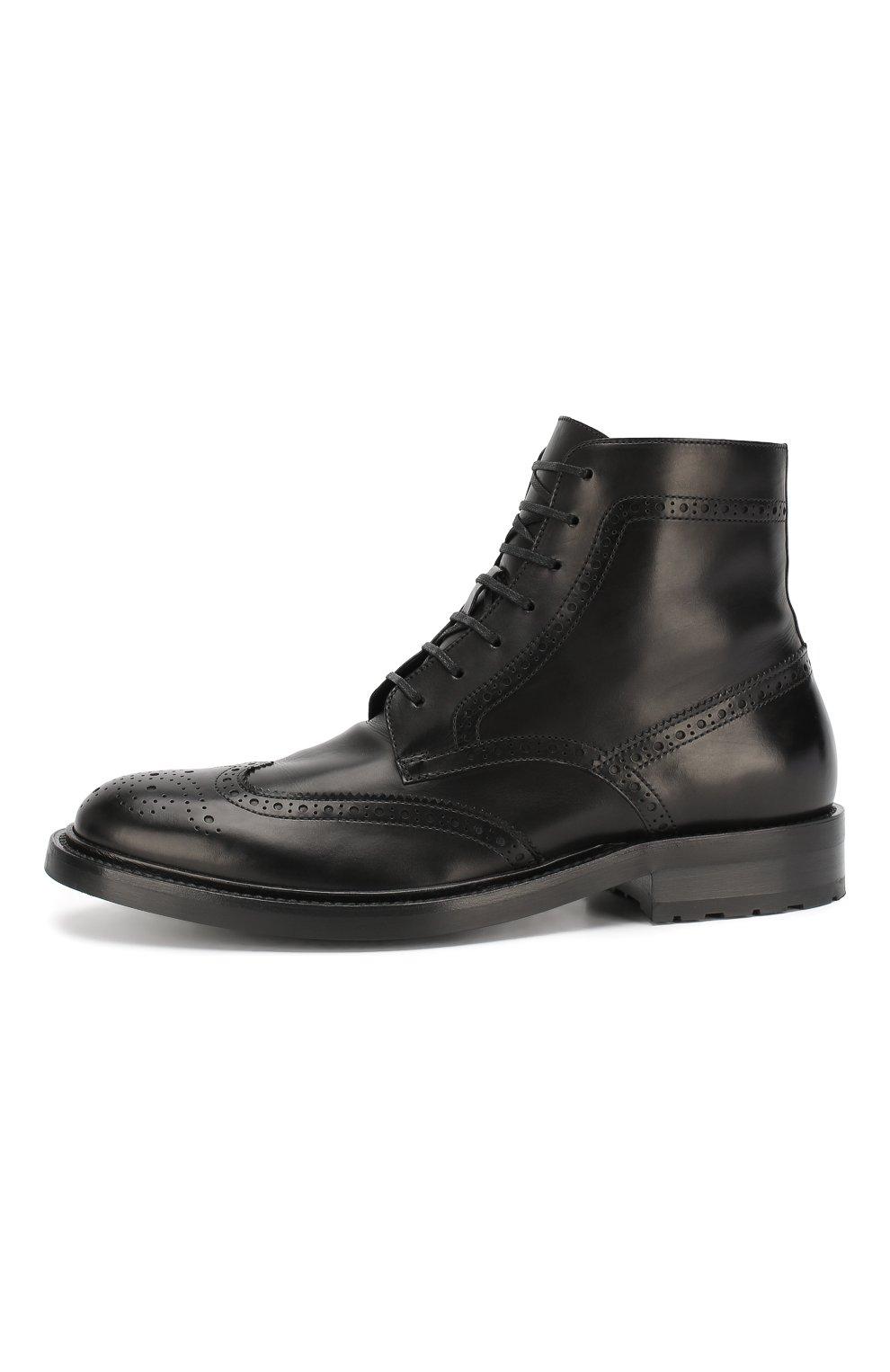 Мужские кожаные ботинки army SAINT LAURENT черного цвета, арт. 587462/1G700 | Фото 3