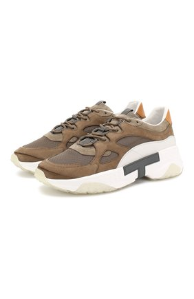 Мужские комбинированные кроссовки TOD'S бежевого цвета, арт. XXM57B0BL40M78 | Фото 1