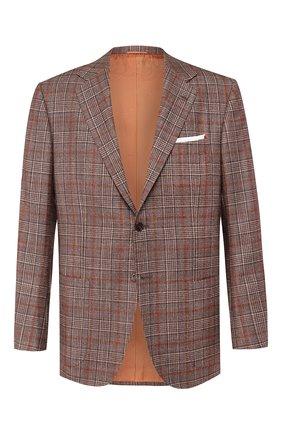 Мужской пиджак из смеси шерсти и кашемира KITON коричневого цвета, арт. UG81K01S56   Фото 1
