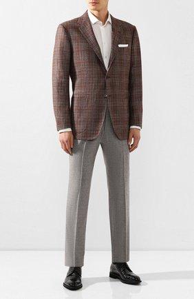 Мужской пиджак из смеси шерсти и кашемира KITON коричневого цвета, арт. UG81K01S56   Фото 2