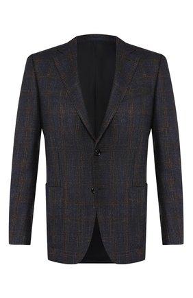 Мужской шерстяной пиджак ERMENEGILDO ZEGNA темно-синего цвета, арт. 650024/122520 | Фото 1