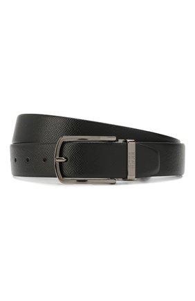 Мужской кожаный ремень BOSS черного цвета, арт. 50408106 | Фото 1