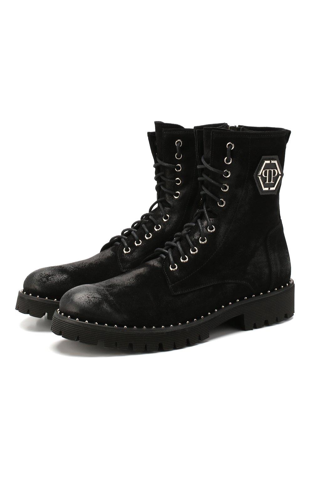 Мужские замшевые ботинки PHILIPP PLEIN черного цвета, арт. MSE0096   Фото 1