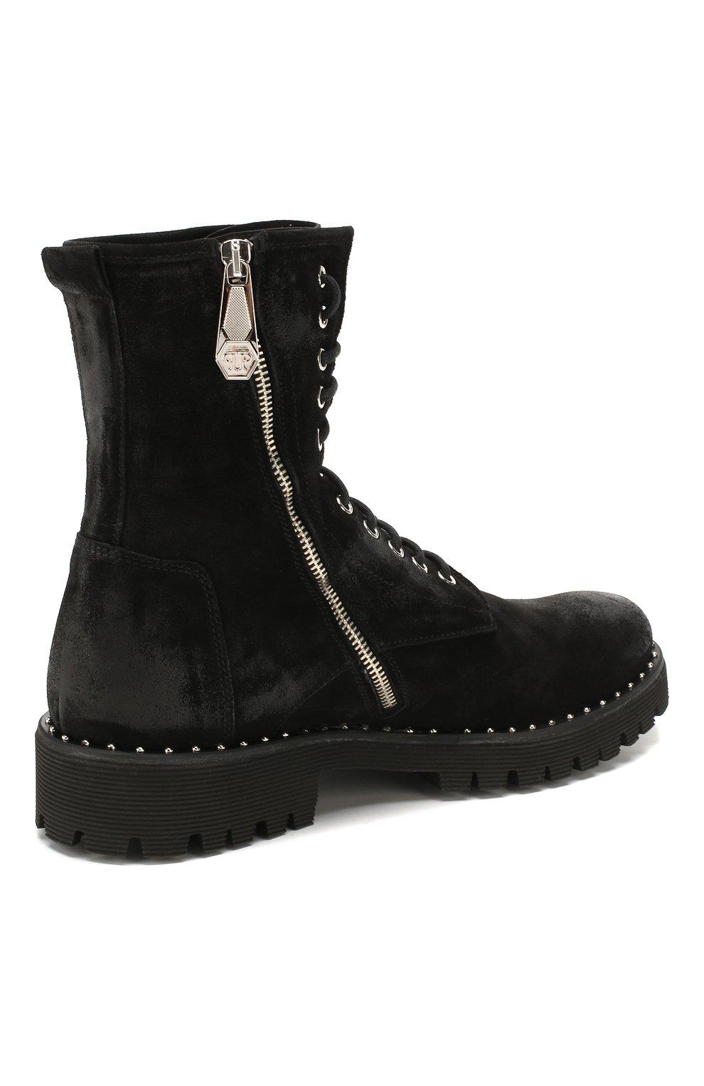 Мужские замшевые ботинки PHILIPP PLEIN черного цвета, арт. MSE0096   Фото 4