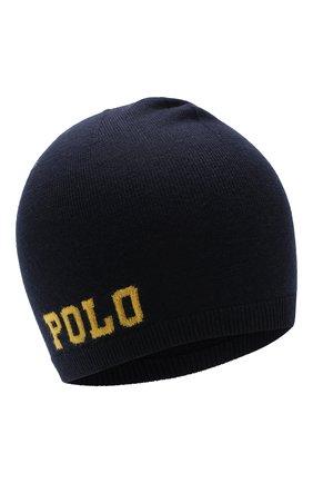 Детского шерстяная шапка POLO RALPH LAUREN темно-синего цвета, арт. 322751591 | Фото 1