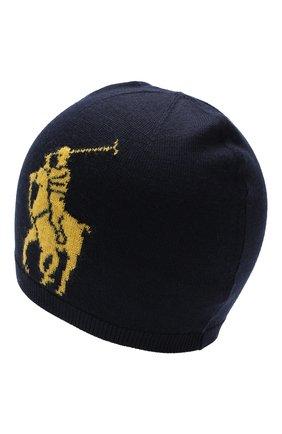 Детского шерстяная шапка POLO RALPH LAUREN темно-синего цвета, арт. 322751591 | Фото 2