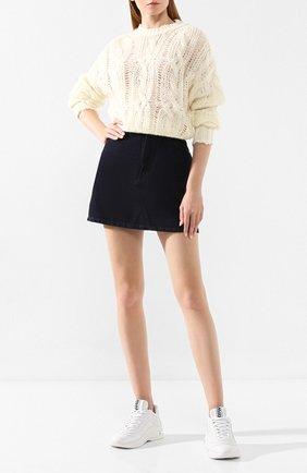 Женские кожаные кроссовки MIU MIU белого цвета, арт. 5E841C/3L4A | Фото 2