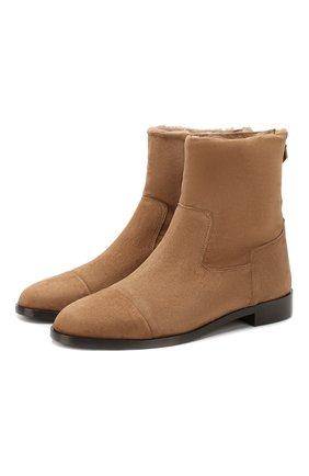 Женские замшевые ботинки BOUGEOTTE темно-бежевого цвета, арт. BBLSUSHEA660CL | Фото 1