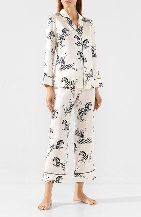 Женская шелковая пижама OLIVIA VON HALLE белого цвета, арт. CT0020 | Фото 1
