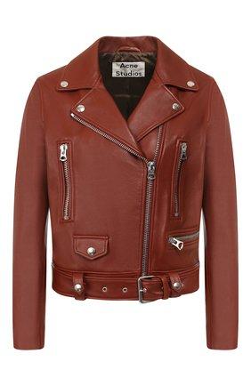 Женская кожаная куртка ACNE STUDIOS коричневого цвета, арт. 1AZ166 | Фото 1