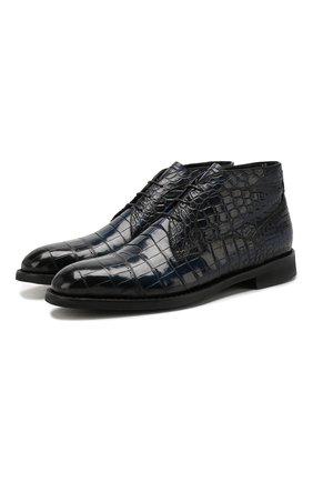 Мужские ботинки из кожи крокодила BARRETT темно-синего цвета, арт. 192U095.1/C0CC0DRILL0 CREAM/CNIL | Фото 1