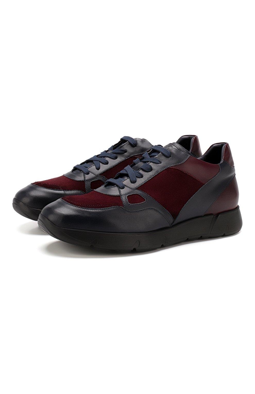 Мужские кожаные кроссовки ANDREA CAMPAGNA синего цвета, арт. 302010.94.94 | Фото 1 (Стили: Классический; Статус проверки: Проверено, Проверена категория; Подошва: Массивная)