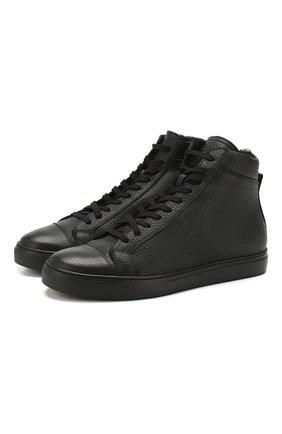 Мужские кожаные кеды ANDREA CAMPAGNA черного цвета, арт. 315023.223.138 | Фото 1