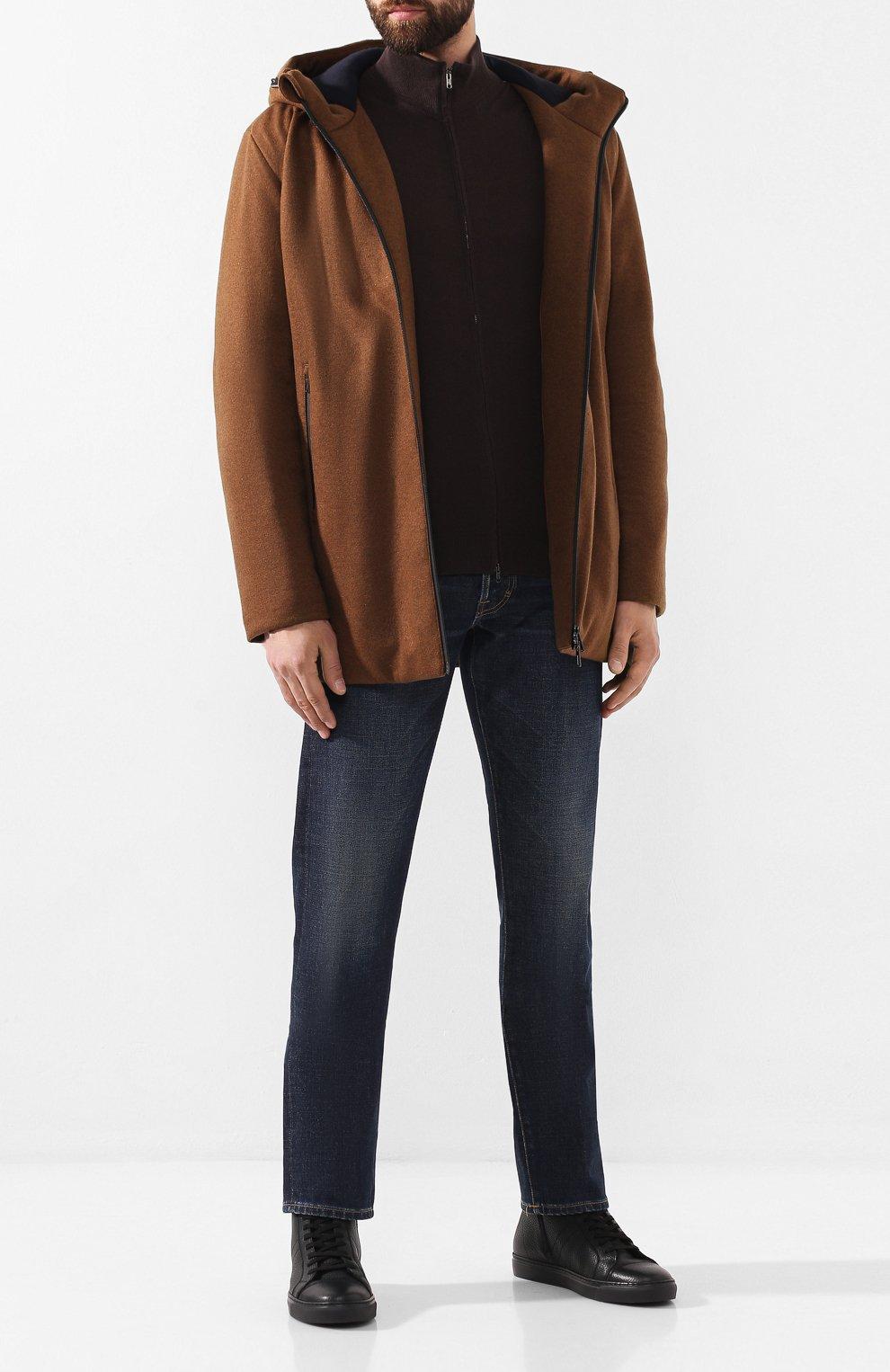Мужские кожаные кеды ANDREA CAMPAGNA черного цвета, арт. 315023.223.138 | Фото 2