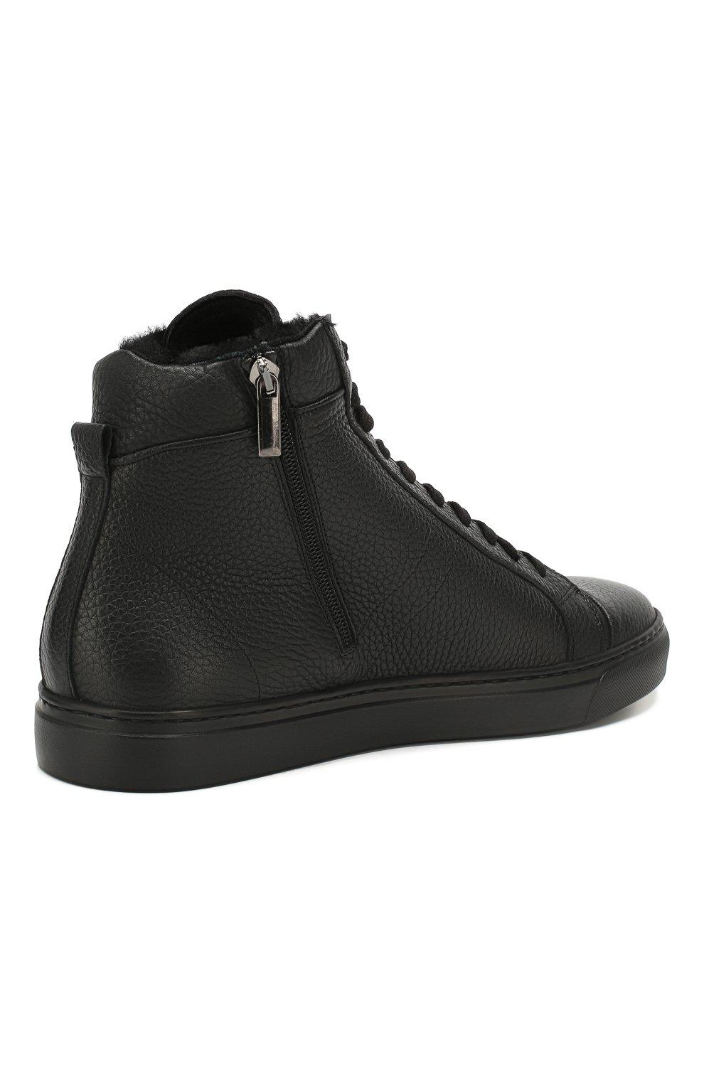 Мужские кожаные кеды ANDREA CAMPAGNA черного цвета, арт. 315023.223.138 | Фото 4