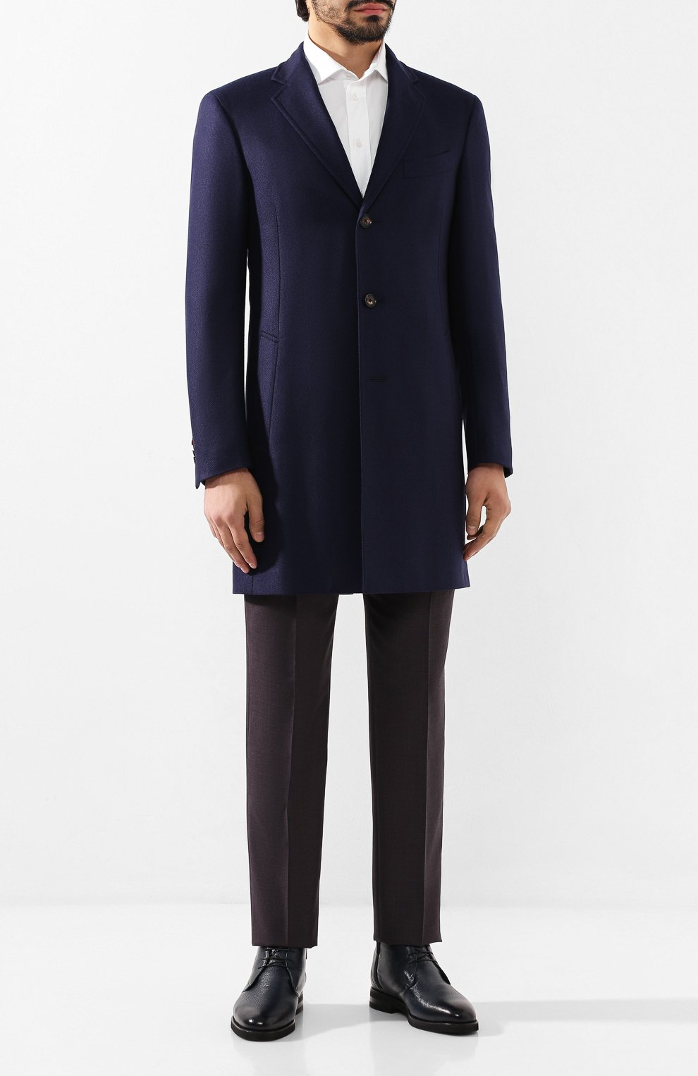 Мужские кожаные ботинки ANDREA CAMPAGNA темно-синего цвета, арт. 373019.91.151 | Фото 2