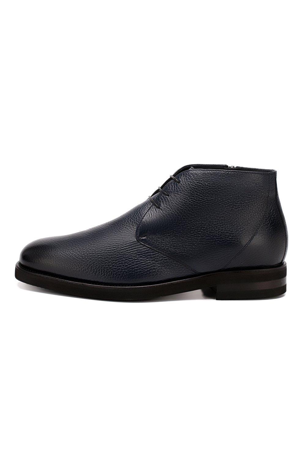 Мужские кожаные ботинки ANDREA CAMPAGNA темно-синего цвета, арт. 373019.91.151 | Фото 3